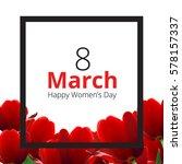 red tulips on white background. ... | Shutterstock .eps vector #578157337