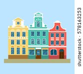 street landscape with colorful... | Shutterstock .eps vector #578163253