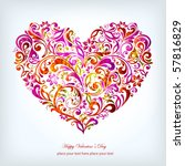 abstract floral heart | Shutterstock .eps vector #57816829