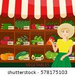 local vegetable stall. fresh...   Shutterstock .eps vector #578175103