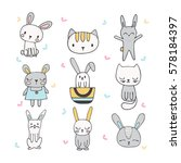 Stock vector set of cute hand drawn bunnies and cats collection of children doodles and sketches with funny 578184397