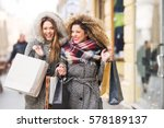two attractive smiling young... | Shutterstock . vector #578189137