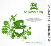 leprechaun lucky symbols on...   Shutterstock .eps vector #578195407