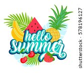 tropical fruit background with... | Shutterstock .eps vector #578196127