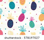 seamless pineapple pattern with ... | Shutterstock .eps vector #578197027
