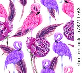 pink flamingos  purple flowers  ... | Shutterstock .eps vector #578211763