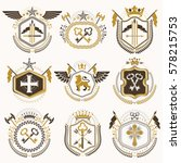 set of old style heraldry... | Shutterstock .eps vector #578215753