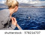 whale watch  whale playing in...   Shutterstock . vector #578216737