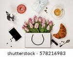 top view of spring flowers ... | Shutterstock . vector #578216983