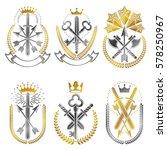 vintage weapon emblems set.... | Shutterstock .eps vector #578250967