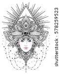 tribal fusion boho diva.... | Shutterstock .eps vector #578259523