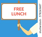 free lunch. hand holding wooden ... | Shutterstock .eps vector #578263687