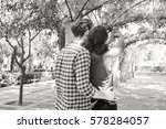 black and white rear view of... | Shutterstock . vector #578284057