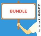 bundle. hand holding wooden sign