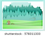 small wood house paper art with ... | Shutterstock .eps vector #578311333
