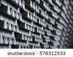 stack of raw aluminum ingots in ... | Shutterstock . vector #578312533