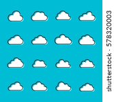 set of cloud icons in modern...