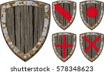 old cracked wooden shield... | Shutterstock .eps vector #578348623