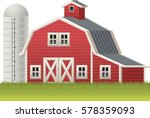 Red Barn And Silo Symbol.