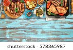 variety of grilled food on the ... | Shutterstock . vector #578365987