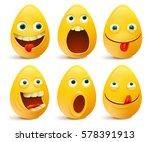 set of egg shaped emoticons.... | Shutterstock .eps vector #578391913