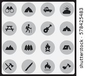 set of 16 editable camping... | Shutterstock .eps vector #578425483