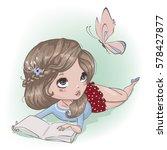 cute cartoon girl with butterfly | Shutterstock .eps vector #578427877