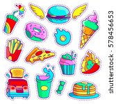 trendy cool set of fast food... | Shutterstock .eps vector #578456653