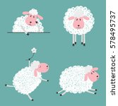 set of doodle cute sheep for... | Shutterstock .eps vector #578495737