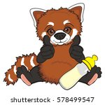 little red panda love a bottle... | Shutterstock . vector #578499547