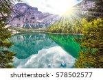 beautiful lake in south tyrol ... | Shutterstock . vector #578502577