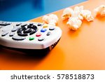 tv cable remote and popcorn.... | Shutterstock . vector #578518873