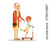 grandmother teaching boy to...   Shutterstock .eps vector #578519887