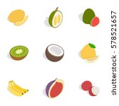 tropical fruits icons set.... | Shutterstock .eps vector #578521657