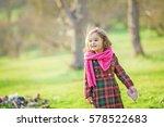 beautiful little girl walking... | Shutterstock . vector #578522683