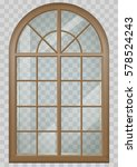 classic arched window of wood...   Shutterstock .eps vector #578524243