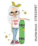 cute girl with skateboard... | Shutterstock .eps vector #578533987