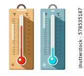 thermometers icons set. summer... | Shutterstock .eps vector #578535187