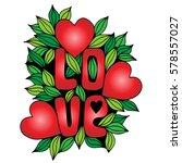 love word with big red heart on ... | Shutterstock .eps vector #578557027