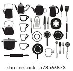 cooking icons set. kitchen tool ... | Shutterstock .eps vector #578566873