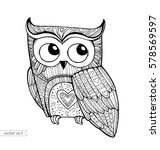 owl isolated. cute boho pattern ... | Shutterstock .eps vector #578569597