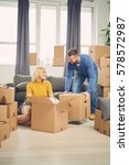 couple moving into new... | Shutterstock . vector #578572987