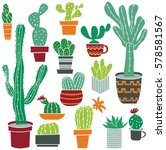 flat collection of cute potted... | Shutterstock .eps vector #578581567
