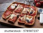 rustic italian pizza with... | Shutterstock . vector #578587237
