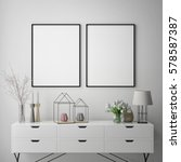 mock up poster frame in hipster ... | Shutterstock . vector #578587387