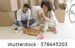 young african american couple... | Shutterstock . vector #578645203