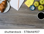 close up of workplace  cup of... | Shutterstock . vector #578646907