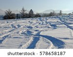 The Tracks Of Skiers In The Snow