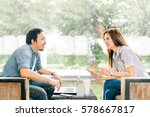 young asian couple or coworker... | Shutterstock . vector #578667817