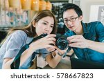 young asian couple learning to... | Shutterstock . vector #578667823
